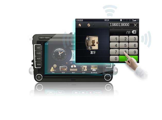 蓝牙免提电话功能 最新蓝牙技术,支持手机电话薄传送到车载DVD并存储,同时支持来电信息中文显示和免提功能在驾驶中 用蓝牙与手机连接进行免提通话,大大提高车内接打电话的安全性。 支持与手机无线传输音乐、视频等数据,音质清晰,可尽享天籁之音;并兼容所有型号手机。